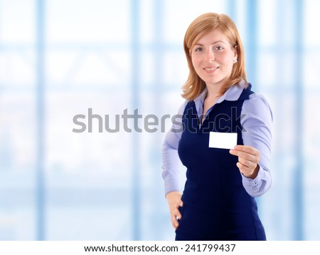 Beauty elegant woman show business card                               - stock photo