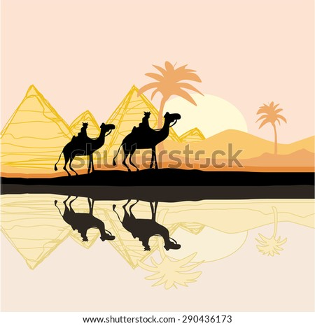 Bedouin camel caravan in wild africa landscape illustration  - stock photo