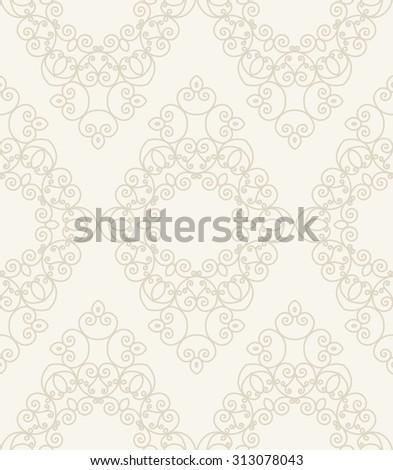beige vintage seamless monochrome geometrical pattern background. raster version - stock photo