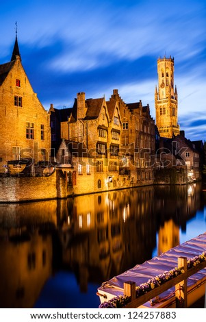 """Belfry"" and ""Rozenhoedkaai"" in Bruges, Belgium - stock photo"