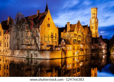 """Belfry"" and ""Rozenhoedkaai "" in Bruges, Belgium - stock photo"
