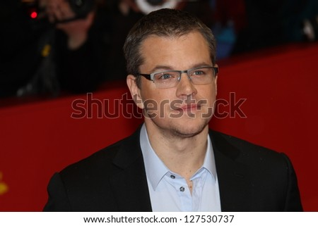 BERLIN, GERMANY - FEBRUARY 08: Actor Matt Damon attends 'Promised Land' Premiere during the 63rd Berlinale International Film Festival at Berlinale Palast on February 8, 2013 in Berlin, Germany - stock photo