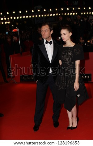 BERLIN, GERMANY - FEBRUARY 12: Jude Law,  Rooney Mara attend the 'Side Effects' Premiere during the 63rd Berlinale Festival at Berlinale Palast on February 12, 2013 in Berlin, Germany - stock photo