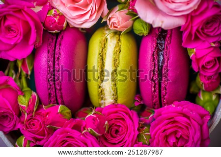berry pink spring color macaroons  background for valentines mother woman day easter with love - stock photo