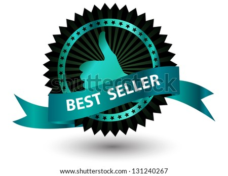 Best Seller label with red ribbon. - stock photo