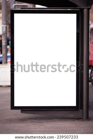 Billboard at a bus stop. - stock photo