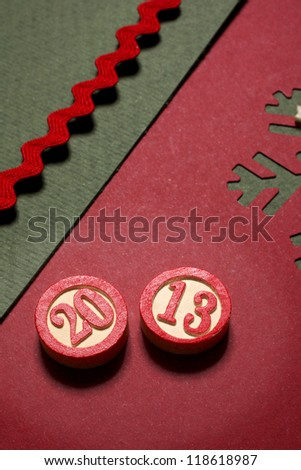 2013 bingo number and christmas card - stock photo