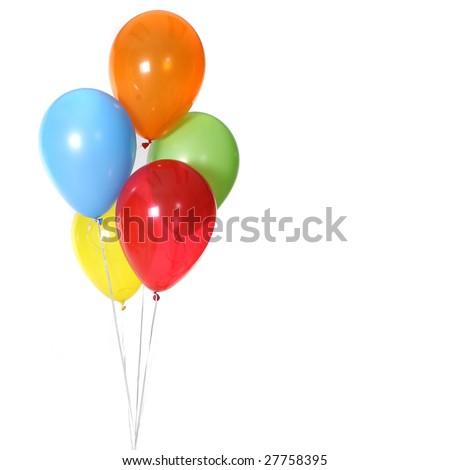 5 Birthday Celebration Balloons Isolated on White Background - stock photo