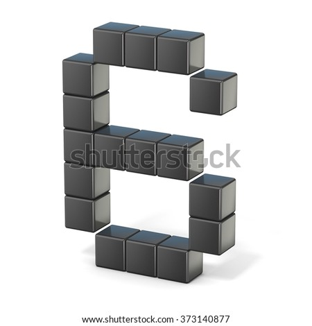 8 bit font. Number 6. 3D render illustration isolated on white background - stock photo