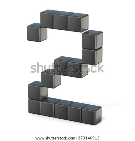 8 bit font. Number 2. 3D render illustration isolated on white background - stock photo