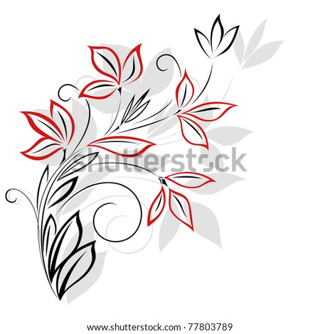 Black and red floral pattern - stock photo