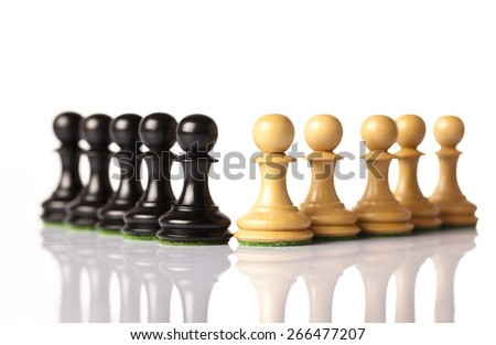black and white chess pieces,competitors meeting - stock photo