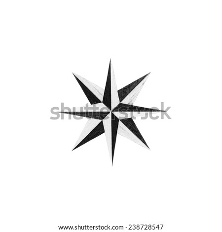 Black and white  Eight-pointed star  isolated over white background - stock photo