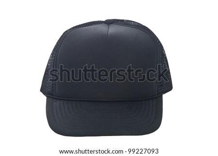black baseball hat isolated on white - stock photo