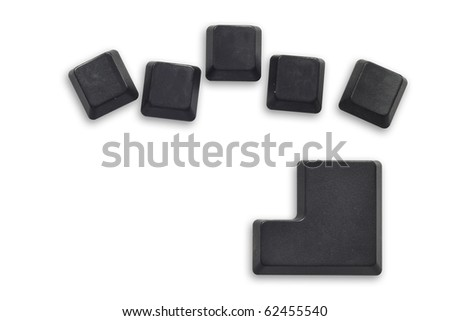 5 Black computer button with enter button isolated on white - stock photo