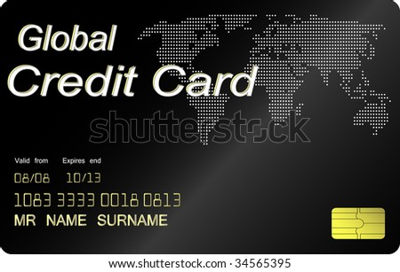 Black credit card , highly detailed (jpg) - stock photo