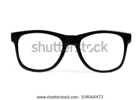 black frame glasses isolated on white background - stock photo