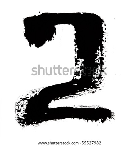 2 - Black ink numbers over the white background - stock photo
