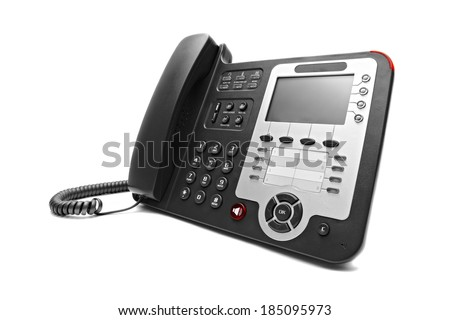 Black IP office phone isolated on white background - stock photo