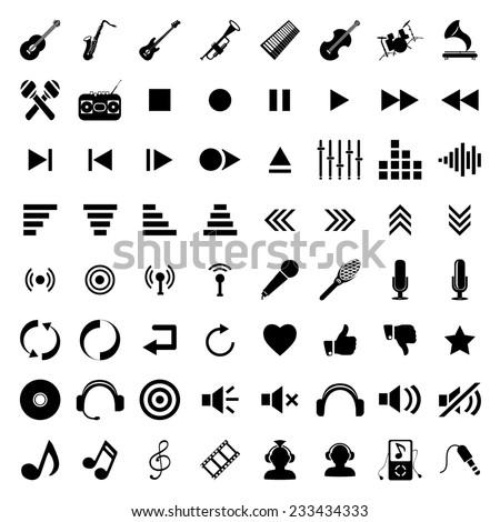 black music icons set isolated on white background - stock photo