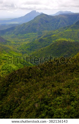 black river mountain  in mauritius africa water fall gran riviere - stock photo