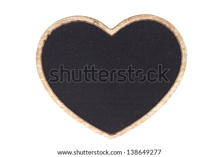 Blackboard shape heart empty blank isolated on white with work path - stock photo