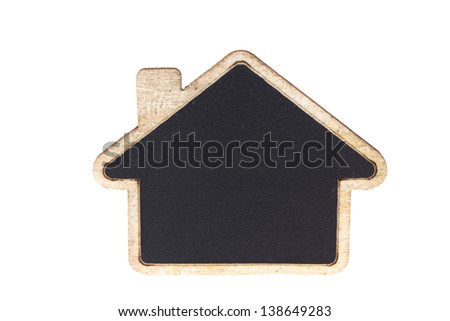 Blackboard shape home empty blank isolated on white with work path  - stock photo