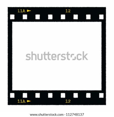 blank film strip frame isolated on white - stock photo