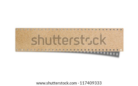 blank film strip recycled paper craft stick on white background - stock photo