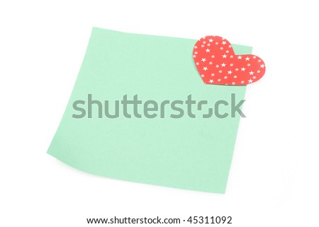blank green note with heart magnet - stock photo