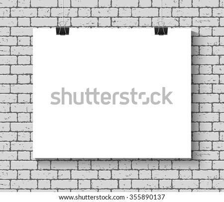 Blank paper poster mock up on the brick wall. Template of a paper sheet with clips. Paper card hanging on the rope. - stock photo