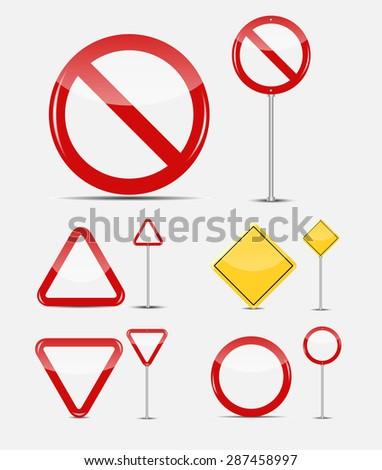 Blank Traffic Sign Set   - stock photo