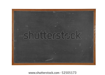 Blank vintage Blackboard with wood frame isolated over white with a clipping path - stock photo