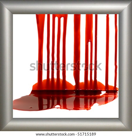 Blood on the white background in the frame - stock photo