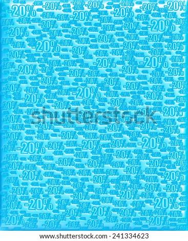 20% blue background - stock photo