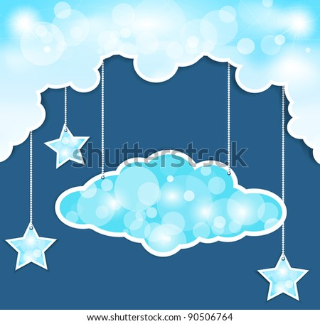 blue background with clouds and the stars (JPEG version) - stock photo