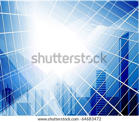Blue glass wall and abstract city. Raster version - stock photo