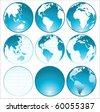 9 blue glossy globes - stock photo