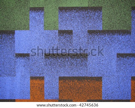 blue, green and orange roof - stock photo