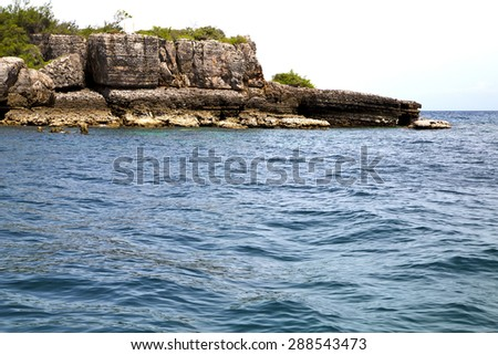 blue lagoon   stone in thailand kho phangan   bay abstract of a  water    south china sea - stock photo