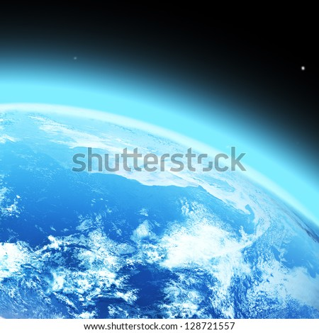 "blue  planet earth  in space. ""Elements of this image furnished by NASA"" - stock photo"