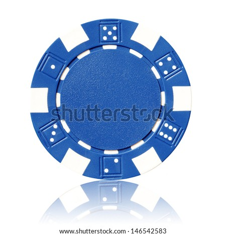 blue poker chip - stock photo
