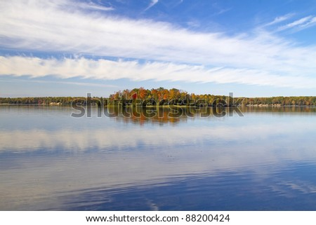 """Blue Reflection"" - Clouds and Water, Au Sable River, Oscoda, Michigan, USA - stock photo"
