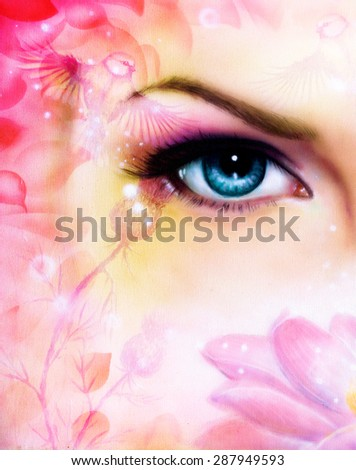 blue women eye beaming up enchanting from behind a blooming rose lotus flower, with bird on pink abstract background. - stock photo