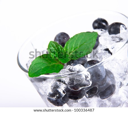Blueberry cocktail with mint leaves - stock photo