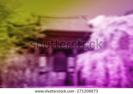(BLUR style Abstract background) Cherry and Plum Blossoms at the bell. A Shrine in Tokyo. - stock photo