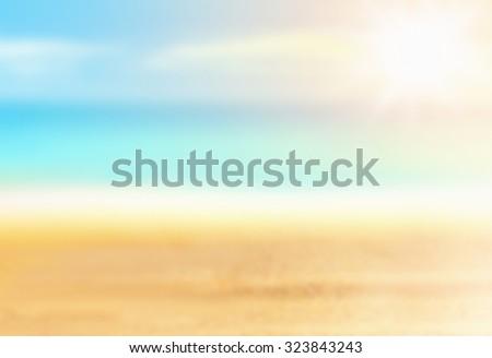 Blurred background. Summer beach. - stock photo