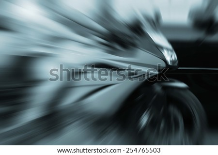 blurred fast motorcycle - stock photo