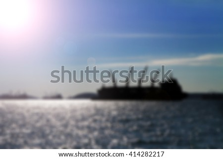 Blurred soft of ship Construction on sea for background  - stock photo