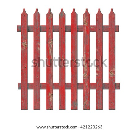 Board fence red. 3D illustration                              - stock photo